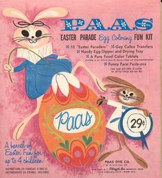 "Love this vintage PAAS ""Easter Parade' egg dye kit box art. Easter Egg Dye, Easter Art, My Childhood Memories, Sweet Memories, Vintage Easter, Vintage Holiday, Vintage Advertisements, Vintage Ads, Retro Advertising"