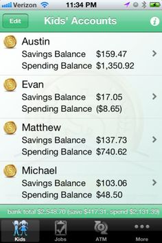 KidsBank ($2.99) KidBank™ tracks kids' money, allowance, and jobs, and pays interest for saving. KidsBank™ teaches children the value of saving and responsible spending, by doing. Keep track of your children's money, empower them to do simple jobs for extra money, and track their spending in this virtual bank account app. KidsBank™ is a great way to track birthday money, allowance, and spending. A simple, clean user interface provides a fun and easy money management tool.