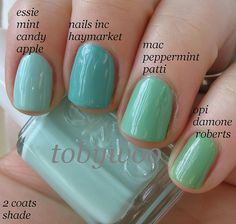 Mint nail polishes.  Essie Mint Candy Apple, Nails INC Haymarket, MAC Peppermint Patti, OPI Damone Roberts