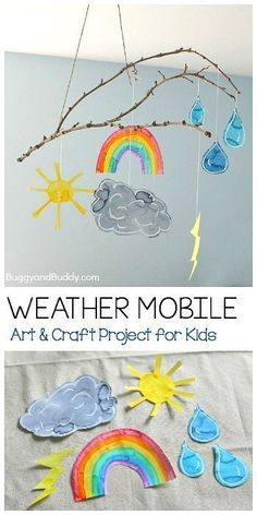 Craft for Kids Weather Mobile Craft for Kids Using a Stick- Fun art project for your next weather unit, to hang in your art room, or near your calendar or circle time area! (Can even be done as a collaborative art project!) ~ Weather Mobile Craft for Kids Weather Activities For Kids, Preschool Weather, Weather For Kids, Weather Science, Circle Time Ideas For Preschool, Teaching Weather, Cool Art Projects, Craft Projects For Kids, Art Project For Kids