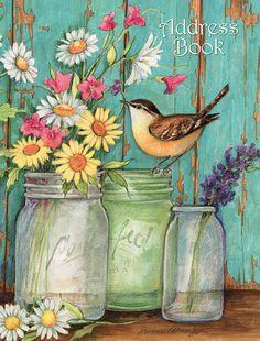 """LANG - Address Book - """"Flower Jars"""", Artwork by Susan Winget - Lay-Flat, Binding - x x Watercolor Flowers, Watercolor Paintings, Stencil, Paisley Art, Flowers In Jars, Jar Art, Decoupage Vintage, Paint And Sip, Country Paintings"""