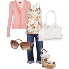 Pink Floral outfit (just change the shoes to white flats!