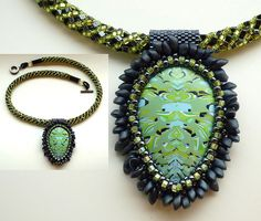 cabochon-42-on-beaded-rope by Bridget Derc  (polymer clay and beads)