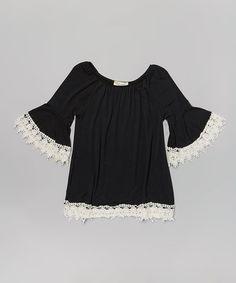 Look at this #zulilyfind! Black Bell-Sleeve Peasant Tunic - Infant, Toddler & Girls #zulilyfinds