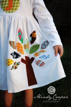 Applique Dress - Personalized Dress with Tree Applique - You Choose Dress Color and Sleeve Length. $32.00, via Etsy.