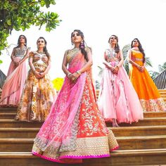 10 Fresh Indian Wedding Trends Spotted in 2017 Bride's army! Indian Bridesmaid Dresses, Bridesmaid Poses, Indian Wedding Outfits, Indian Outfits, Indian Wedding Photography Poses, Bride Photography, Wedding Poses, Wedding Shoot, Photography Brochure