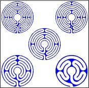 Labyrinth Company © www.labyrinthcompany.com  So cool - garden templates for making labyrinths.