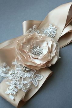 Champagne Bridal Sash Flower Dress Sash Wedding by BelleBlooms