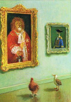 Ontwerp: Michael Sowa. Tiere und Löwe. Postkaart te bestellen bij www.postersquare.com