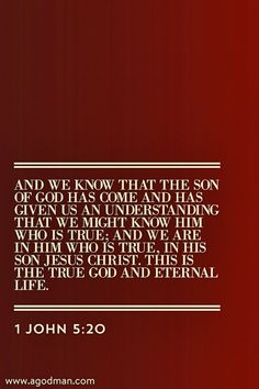 1 John 5:20 And we know that the Son of God has come and has given us an understanding that we might know Him who is true; and we are in Him who is true, in His Son Jesus Christ. This is the true God and eternal life. Bible Verse quoted at www.agodman.com