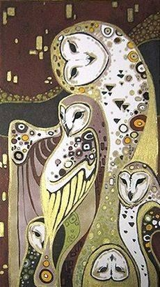 Owls in the style of Klimt