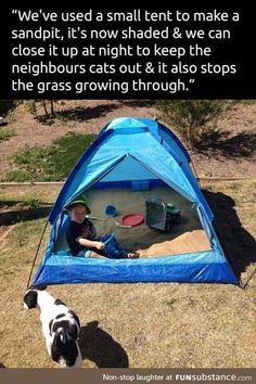 idea for kids' sandpits. Use an old tent to create a sandbox that you can keep clean and shaded.Use an old tent to create a sandbox that you can keep clean and shaded. Diy For Kids, Cool Kids, Small Tent, Kids Tents, Future Mom, Baby Kind, Outdoor Fun, Outdoor Toys, Outdoor Games