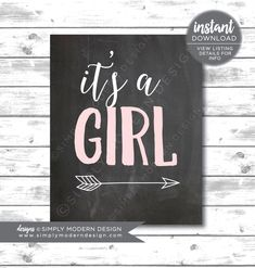 chalkboard it's a girl, sign, arrow, gender reveal, gender reveal, baby shower, chalkboard sign,  instant download, printable by SimplyModernDesignx on Etsy