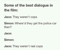 """I love it how right before this scene Clary is like """"okay, I'll follow you."""" and you hear simon yell """"ARE YOU SURE ABOUT THAT? HE JUST KILLED TWO COPS!!!"""""""