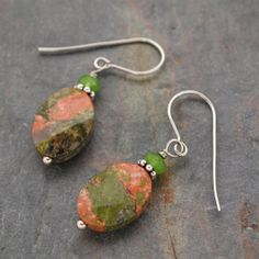 Green Jade and Unakite Earrings by wildharegems4 on Etsy, $10.00