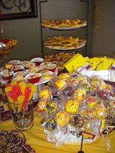 Arizona State University themed sugar cookies, Spritz Cookies, Cake Pops and Rock Candy