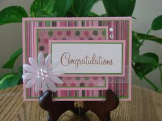 Handmade greeting card - congratulations with stripes and polka dots in pink, green and brown. $4.00, via Etsy.