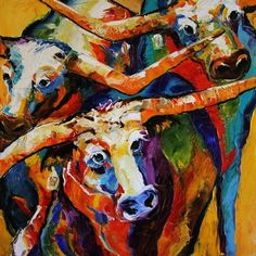Horning In, Bevo Texas Longhorn Painting by Texas Artist Laurie Pace, painting by artist Laurie Justus Pace