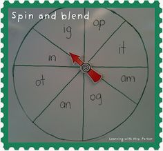 Spin and blend game - students practice blending CVC words.  I selected a…