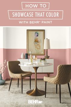 Shelves, ceilings, and dramatic walls—there are endless ways to showcase a bright pop of color! This modern dining room is the perfect example. A half-painted wall featuring Bubble Shell, from the new BEHR® 2020 Color Trends Palette, draws the eye in an interesting and unique way. Mid-century modern furniture and gold home decor accents complete the look. Click below for more inspiration.