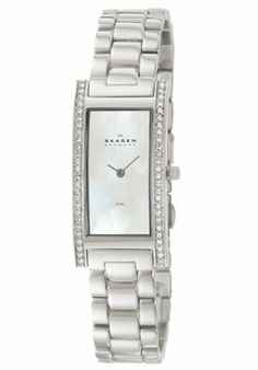 Skagen Denmark Women's Stainless Steel Watch Skagen. $99.00. Polished stainless steel link bracelet | Polished stainless steel bezel, case and back. Super-hardened mineral crystal | Push-pull crown. Case: 20mm wide x 40mm long x 6mm thick | Bracelet: 14mm wide x 8.5in long. Stainless steel watch with a mother-of-pearl dial and Swarovski crystal accents | Quartz movement. Swarovski crystal embellished case | Mother-of-pearl dial with silver-tone hands. Save 32% Off!