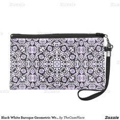 Black White Baroque Geometric Wristlet Bag