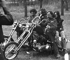 Old School Bikers enjoy parties in the country