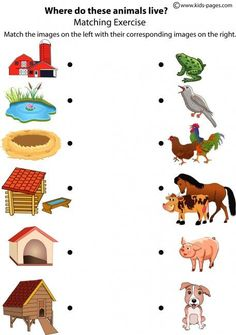 Matching animals to their home! This is a fun way take the next step in labeling animals and understanding their different homes and where they belong..: