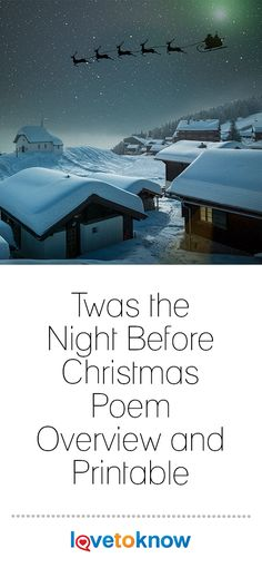 """'Twas the night before Christmas, and all through the house . . . "" That famous line is the beginning of one of the most beloved Christmas stories of all time. For nearly 200 years, children have gone to bed often too excited to sleep in their anticipation of Santa Claus arriving on Christmas Eve to leave them presents under the Christmas tree. #Christmas Christmas History, Christmas Poems, Christmas Music, A Christmas Story, Christmas Eve, Christmas Gifts, Christmas Decorations, Holiday, Fun Party Games"