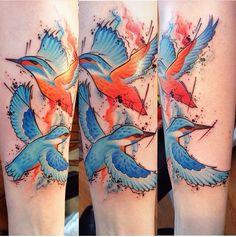 Kingfisher birds by Kingfisher Tattoo, Kingfisher Bird, Bird Art, Tattoo Inspiration, Tatoos, Watercolor Tattoo, Knit Crochet, Birds, Ink