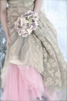 vintage dress with pink tulle skirt underneath to create a fairytale look. Pretty In Pink, Bridal Gowns, Wedding Gowns, Lace Weddings, Bridal Lace, Wedding Bouquet, Fru Fru, Fairytale Dress, Fairytale Fashion