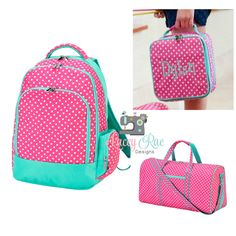 7c4f7a1350 Personalized polka dot pink and aqua Girl Backpack