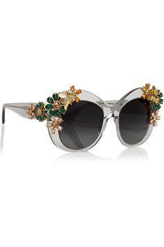 1294f74ac87b Dolce   Gabbana - Swarovski crystal-embellished square-frame acetate  sunglasses