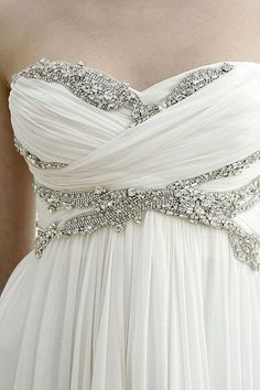 Love the detailing on this empire-waist gown