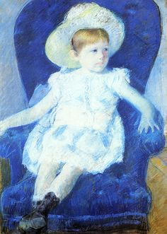"""Mary Cassatt (1844-1926) Elsie in a Blue Chair, Pastel on paper, 1880, 63.5 x 88.9 cm(25"""" x 35""""), Private collection"""