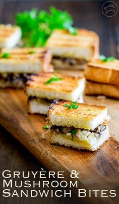 Gruyere and Mushroom Sandwich Bites are the perfect gourmet finger food. These mini vegetarian. These Gruyere and Mushroom Sandwich Bites are the perfect gourmet finger food. These mini vegetarian. Gourmet Appetizers, Mini Appetizers, Appetizers For A Crowd, Vegetarian Appetizers, Finger Food Appetizers, Appetizer Recipes, Vegetarian Party Foods, Gourmet Foods, Holiday Appetizers