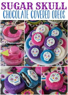This is a cute colorful Halloween project that's so easy to do! Dip Oreos in melted Candy Melts candy, then cover with Wilton Sugar Sprinkles and top off with Sugar Skull Icing Decoration. Project from youngatheartmommy.com