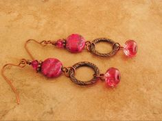 Boho Earrings Pink and Brass Earrings Colorful by BohoStyleMe