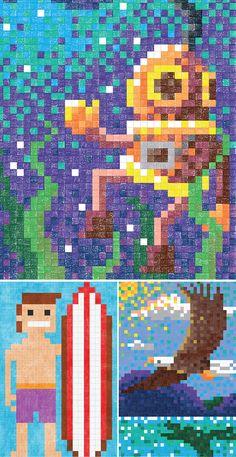 Faber Castell - Livro com desenhos em pixels para pintar com lápis de cor
