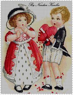 Antique Valentine Card Cross Stitch Pattern