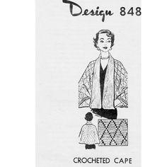 Womens Tuxedo Cape Crochet Pattern Mail Order 848