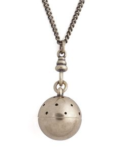 Pomander Pendant - perforated sphere pendant opens to hold fragrant cotton.