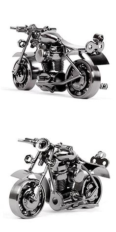 KingMas Creative Handmade Retro Metal Motorcycle Sculpture Model, Personalized Decoration Collectibles Gift (Metallic Black - 37C)
