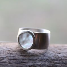 Mother of Pearl Ring with Wide Sterling Silver by LoreleyJewelry, $78.00