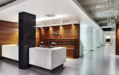Black White And Brown Wood Colors For Modern Front Office Design What are the best wall colors for modern offices? http://seekayem.com