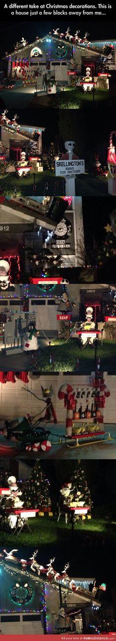 christmas holidays, christmas decorations, nightmar, christma decor, funny quotes, awesom, tim burton, christmas houses, jack skellington