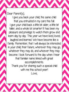 End of the Year Teacher Letter to Students and Parents ...