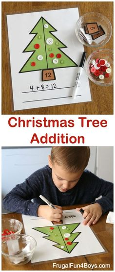 Finding new ways to help my little ones continue working on their addition skills can be tricky. Grab this Christmas Tree Addition printable to work on those addition and fine motor skills through December. :: www.thriftyhomeschoolers.com