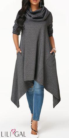 Grey Marl Asymmetric Hem Long Sleeve Sweatshirt - Trend Way Dress Casual Dresses, Fashion Dresses, Cheap Dresses, Vetement Fashion, Mini Vestidos, Mode Hijab, Discount Designer Clothes, Long Sweaters, Plus Size Fashion