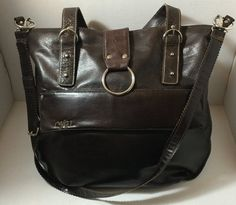 Dark Brown, faux leather, shoulder bag, crossbody, adjustable, Large, Zipper Front Pocket, Silver, Buckles,